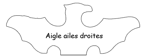 AIGLE AILES DROITES - Exemples de forme de Tête de MIROIR